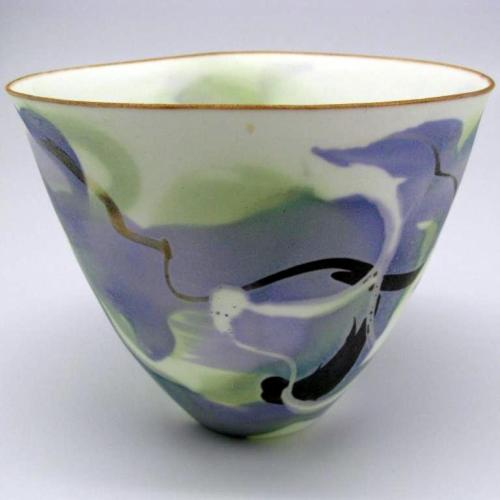 John Shirley: Bone China bowl with soluble salts decoration