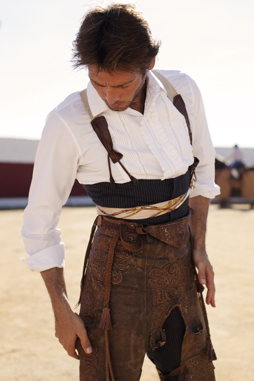 I can't stop looking at the beautiful detailing on the leather chaps. image: The Sartorialist, 'The Matador, Madrid, Spain'