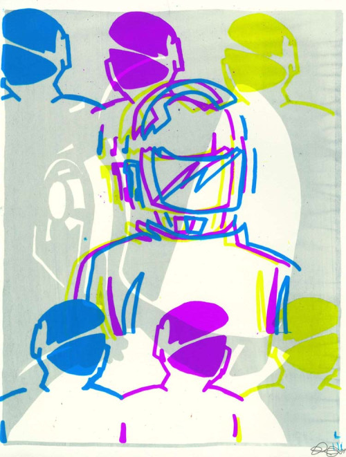 DAFTCMYK. 2009. screenprint  Ohhhh man- two loves in one, Daft Punk and patterns. I should revive this.