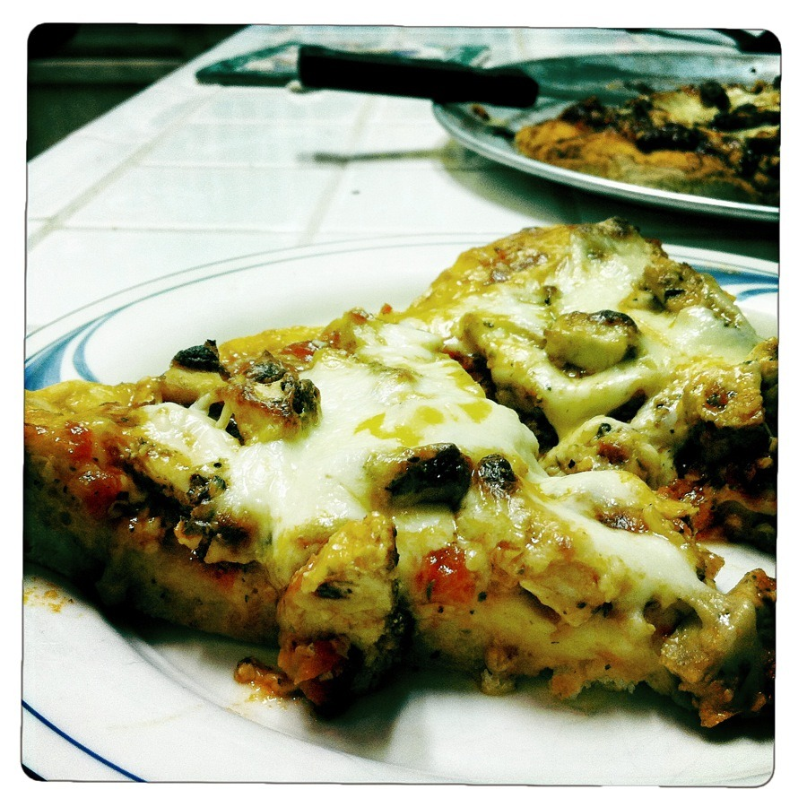 Homemade pizza sauce + seasoned grilled chicken + cheddar + mozzarella = delicious