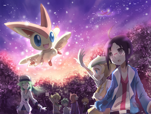 A picture of Victini surrounded by trainers who are canonically destined to lose all the time. tragic.