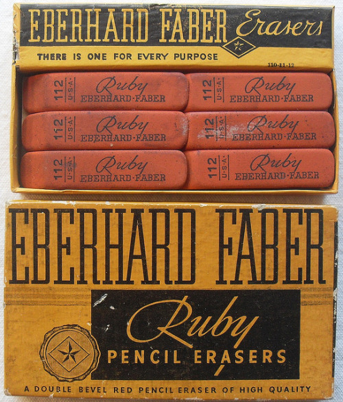 "mudwerks:  iconoclassic:  1940s Vintage Eberhard Faber Ruby Eraser Box (by Christian Montone)  [""there is one for every purpose""…hmmm…]"