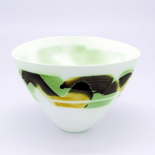 John Shirley: Bowl with potassium chromate and ferric chloride decoration