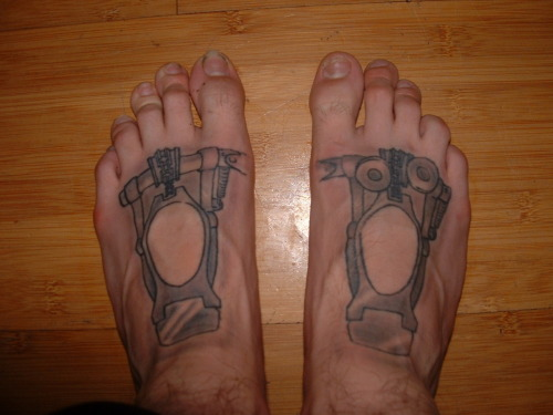 fuckyeahtattoos:  My frist Tattoo. Double kick pedals on my feet. I love drums and double kicks are one of the building blocks of hardcore music.