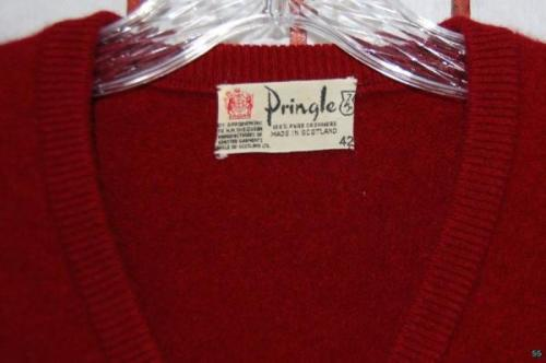 It's On eBay  Vintage Pringle Cashmere Sweater (42) I've said it before, but there is no better second-hand target than high-quality cashmere. If its in good shape and of good quality, it will be better than new. An older Pringle or other Scottish-made cashmere will be of a quality that is tough to buy in stores for less than four or five hundred dollars. Choose v-necks in staple solids like navy, burgundy and gray. Buy It Now $39.99
