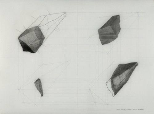 "untitled, basalt shard #1 - 4 segments2011_01_03graphite on polyester drafting film 18"" x 24"" (45.7 x 60.9)cmMatt Niebuhr My son's obsession with a large chunk of black obsidian he found, archery and arrow heads and trying to make his own arrow head (finger cuts and all - for which we had to put a temporary ban on the activity) is seeping into my head…   maybe a bit reflecting in my drawing…   For me, it reminded me of my own curiosity of wondering what something might look like inside or beneath the surface - in section…"