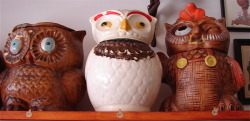 vintage 1970's ceramic brown owl cookie jar (as is)- $25.00 SOLD antique white ceramic owl cookie jar (as is)- $40.00 vintage light brown owl cookie jar- $35.00 http://www.feedingbirdsboutique.com/Feeding_Birds/Countertop.html
