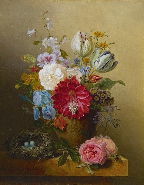 stilllifequickheart:  Gabriël Henriques de Castro Still Life with Flowers and Bird's Nest 1837
