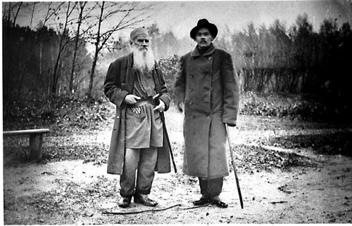 nostalgiya:  Sofia Tolstoy.Leo Tolstoy and Maxim Gorky. 8 October 1900. Photograph taken at the Yasnaya Polyana, the home and birthplace of Leo Tolstoy. [Thank you chagalov for the information and source of this photograph.]