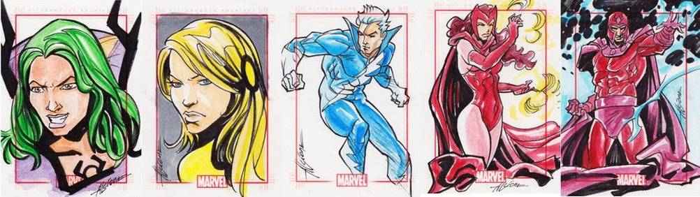 mistressmagnetic:  Sketch Cards  I love Magnus family portraits. I wish someone would do one of those cheesy family portraits that people get done at Sears with the Magnus family. ENDLESS LULZ.
