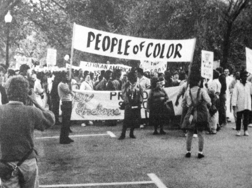"fistsofgold:  ""The people of color contingent in The Second National March on Washington for Lesbian and Gay Rights"", 1987 Photo © Patrick Barnholden"
