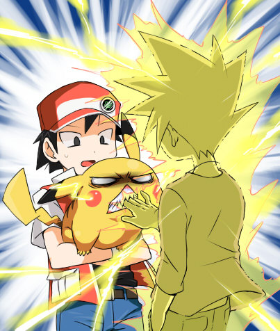 "jubycomics:  ""Hey, let me hold Pikachu for a sec-"" POKEMON …and Pikachu's like ""Hands off, Gary Mother Effing Oak!"""