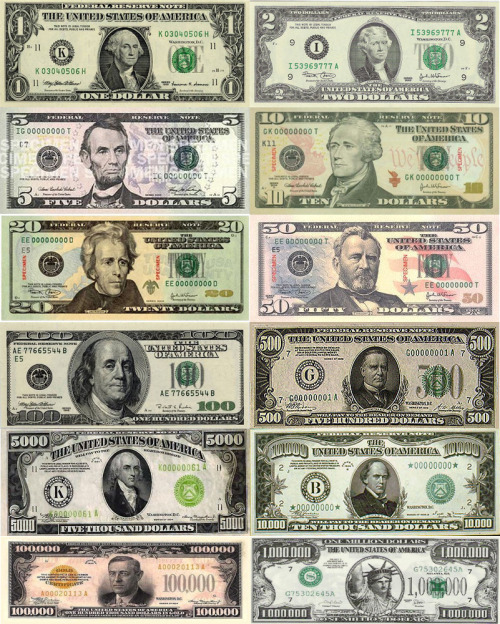 All Of The U.S Dollar Bills In Order From One To One Million.