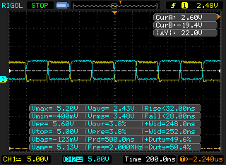 The same two waveforms as below, but with 100nF decoupling capacitors on each IC. This removes approx. 1.6V p2p of noise.  These capacitors aren't shown on the BBC schematic, but they make such a big difference that I suspect they were excluded for being obvious.