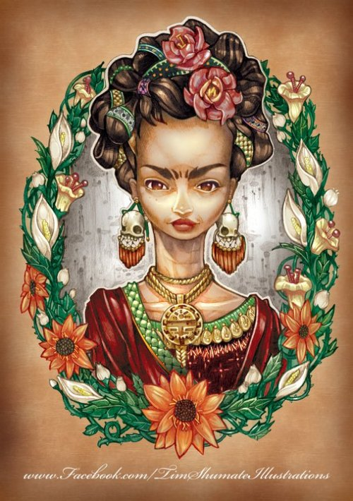 "timshumateillustrations:  Every artists has to do a portrait of Kahlo sometime in his life, eh? Here is mine. 8.5"" X 4.25 Pencil & Photoshop ""The only thing I know is that I paint because I need to, and I paint whatever passes through my head without any other consideration"" -Frida Kahlo"