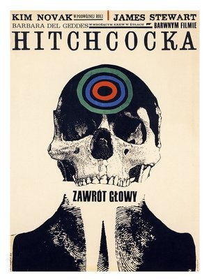 "ajourneyroundmyskull, klbkultur:  Poster for Alfred Hitchcock's ""Vertigo"" by Roman Cieslewicz, 1963. Polish born illustrator Roman Cieslewicz lived in Paris since 1963 and worked as art director for Elle magazine. Together with Arrabal, Jodorowsky and Topor he formed ""Mouvement panique"" (Panic movement) in 1962. /via vinmag"