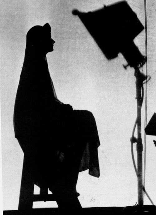 "Greta Garbo on the set of Flesh and the Devil (1926, dir. Clarence Brown)  ""I am always nervous and restless when I am making a picture. I cannot help it. That is why I never want people to see me while I am acting. I do not let people on the set. And I stay by myself all I can while I am making a picture. I sit in one corner alone, or go to my dressing room, or I walk outside by myself while the others are working.  I cannot stand it for someone to come up and say, 'What did you think of the football game?' as they do here in America. I cannot get back on the track. I cannot do my best work then. It is the same with every picture – I tremble always, all over."" -Greta Garbo, quoted in 1928 Photoplay interview (reprinted in Photoplay: the aristocrat of motion picture magazines, Vol. 34) (photo via)"