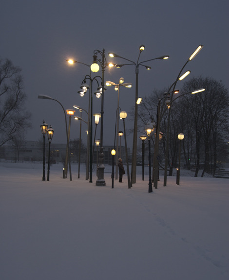 iheartmyart:  Sonja Vordermaier, Leuchtenwald, Streetlampforest a collection of 30 european streetlamps from different origins and times : Amsterdam, Berlin, Erfurt, Leipzig, Glasgow, Innsbruck, Milano, Hamburg, Prag, Cagnes-sur-mer (France), Sarajevo, Stuttgart, Belgrade, Lippstadt, Munich, Sofia, Trieste,Wolfsburg and Vienna. approx. 29 x 46 x 33 ft  Mangfallpark Rosenheim, talking place at the horticultural show Rosenheim, 2010