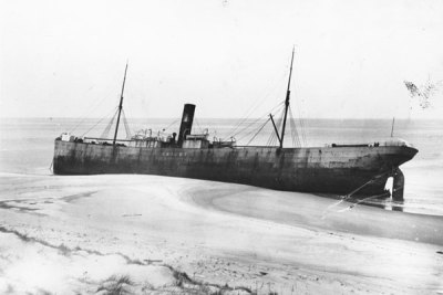 Skidby - 1905 This photograph shows the steamship Skidby held captive by the sands of Sable Island. Within a few months her hull was ripped apart by the waves leaving only her boilers visible.Photo credit: Maritime Museum of the Atlantic
