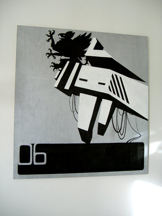 Mecha Araldic | 85cm x 85cm wood boardBlack marker, silver spray, white acrylic By Imho