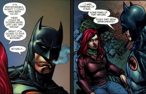 "discowing:  bumblesbounce:  lol I like how Batman's like, ""I've heard about these things called hugs. Would they be helpful? Would you sue me? What is a… 'hug'?""  Bruce: Dick always mentions these 'hugs'. They're nothing improper, I hope. Babs: -_-  This is an excellent interpretation of this scene in that it makes me laugh forever."