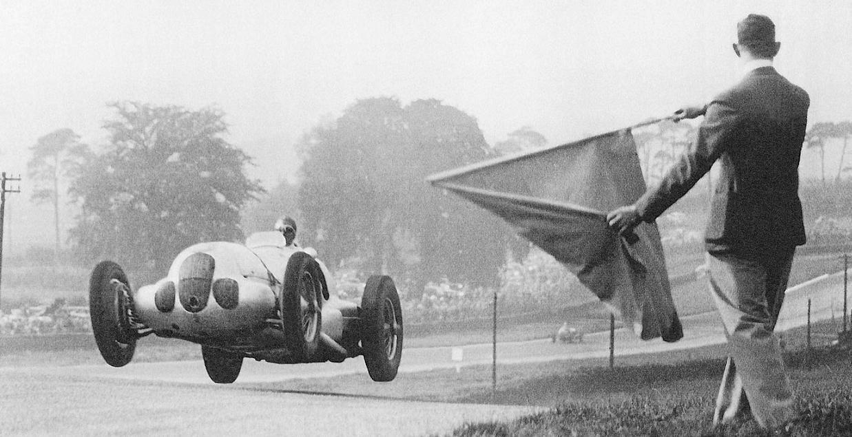 petrolhead: Manfred Von Brauchitsch flying in the W125 at the 1937 Doninton Gp.