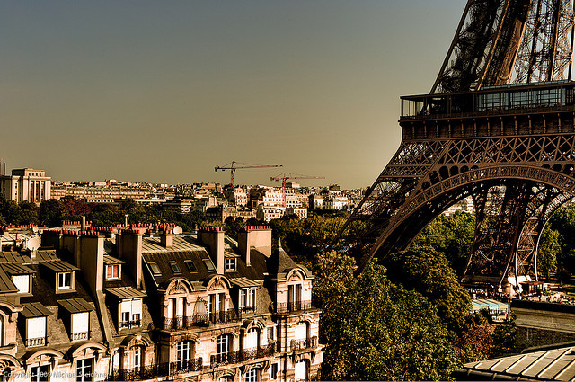 allthingseurope:  Eiffel Tower from the Roof of the Pullman  (by Michael Steighner)