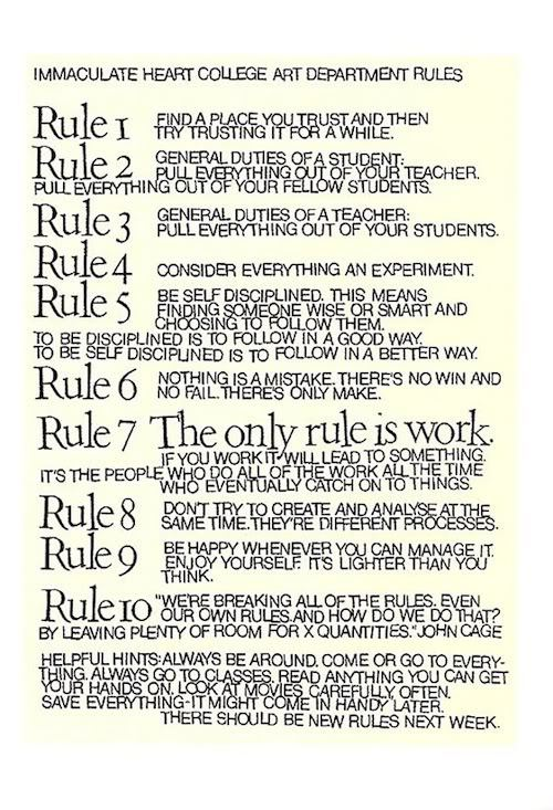 Sister Corita's rules. This needs to be a print.