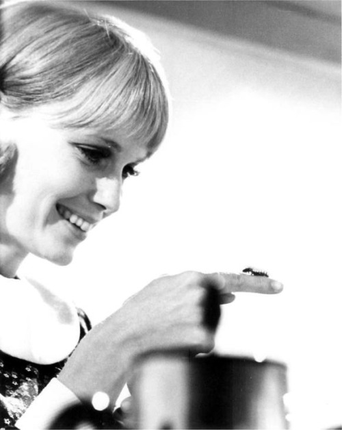 rosedarling:  Mia Farrow and a caterpillar friend on the set of Rosemary's Baby, 1968.