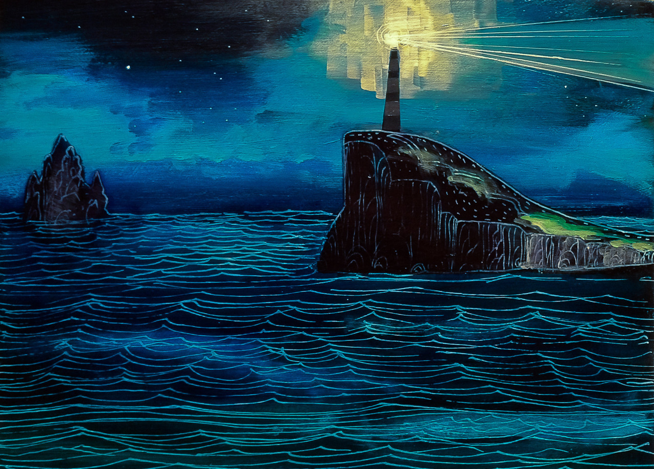 """Song of The Sea"" painting, final state. The final result turned out a bit dark, and it lacks some of the ""pop"" of the original. However, I enjoyed it a good deal and it was a fun addition to the blog.  Inspired by Kristi's zenTangling, I think I'll do more with line work. Combining the two mediums can be quite powerful."