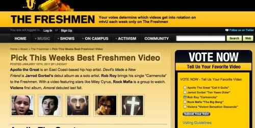 "Vote ""Carmencita"" for MTV's show The Freshmen! Votes will be taken until 2 pm on Friday, 1/14. Multiple votes allowed; no login required. Click the picture above to be taken to the mtvU site."