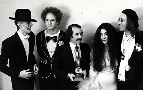 myfamilyalbum:  David Bowie, Art Garfunkel, Paul Simon, Yoko Ono, and John Lennon, Grammys 1975  Conscious party.