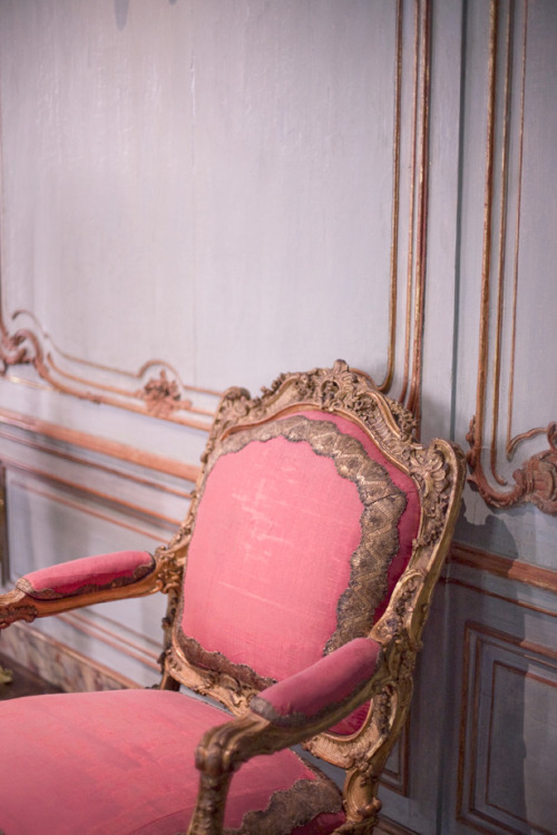 photographer: Jamie Beck pink and gold chair, molding, paneling From Me To You - Think Pink!