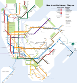 New York Subway.  This is my suggestion for what to do with the New York subway map.  The current MTA map simultaneously gives too much information (i.e., the street grid) and too little, because the map provides no service information.