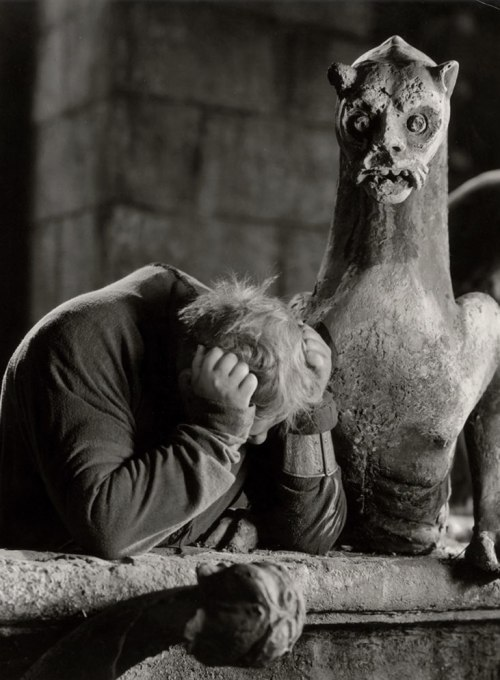 "Charles Laughton as Quasimodo in The Hunchback of Notre Dame (1939, dir. William Dieterle)  ""Why was I not made of stone, like thee?"" (via)"