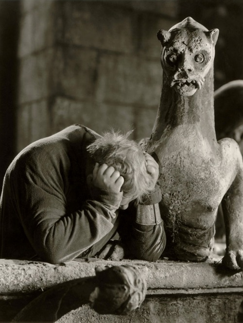 "Charles Laughton as Quasimodo in The Hunchback of Notre Dame (1939, dir. William Dieterle)  ""Why was I not made of stone, like thee?"""