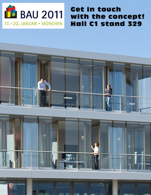 BAU MESSE 2011 MUNICH This week we would like to adress a few activities on this years bulding trade fair BAU in Munich / Germany in which we are involved.  Solarlux will exhibit our facade concept of the Comfortfacade build for the Solarlux headquater in the Netherlands. We blogged earlier informations about the concept. Have a look and get in touch with the concept in Munich and visit Solarlux in hall C1 stand 329.  More info about the trade fair: http://www.bau-muenchen.com/en/Home picture from Solarlux Bissendorf