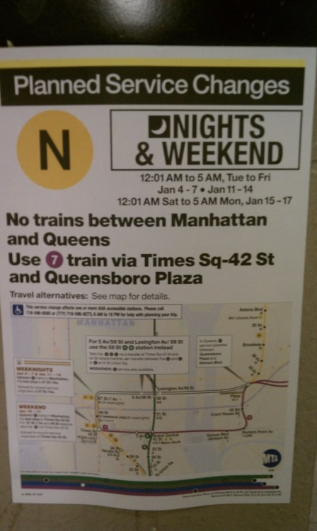 This is the new signage used by the MTA to explain route closures. Integrating the map is a killer idea (these used to be text only).