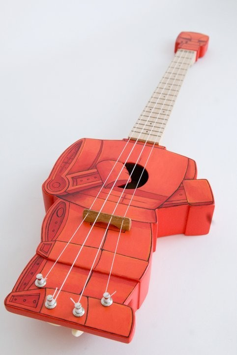 Rock 'em, Soc 'em Robots… ukulele! (by celetanowoodworks)  (via stephanieb324)