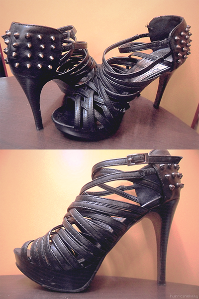 Strappy studded heels from People are People (Syrup Los Angeles, USA)   I wore this pair on my birthday and a recent date with Kev. :) Some people get impressed on my ability to commute, even on rush hours, wearing high heels. Which is a skill innate on petite girls :)) chos! It was love at first sight (lol) when I saw this at People are People. I must admit though, their clothes are rip-offs/overpriced. I mean, for a local retail store that doesn't even manufacture or design their own clothes, their price range is ridiculous. And haven't you noticed that PRP clothes don't have tags with their own name (People are People) but with different brands (like Denim Spice)? I read here that they just get their supplies from Bangkok and their shirt designs are simply imitations. Proof? I bought a pair of pants from them once, imagine my dismay the next day when I saw an exact replica of it at a tiangge (most tiangges get their supplies from Bangkok too) for probably more than half the price, ugh. But I like their shoes; they're gorgeous and unusually affordable. Such a shame that the quality didn't impress me that much. It was only the 2nd time I wore this pair when one of the straps suddenly snapped while I was walking. :|