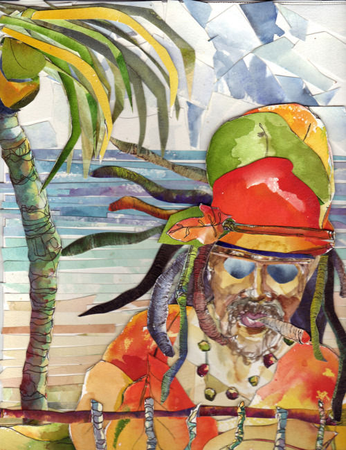 "Pirate of the Caribbean, 9"" x12"" mixed media collage. They still exist, you know, those pirates. They're just wearing different outfits."
