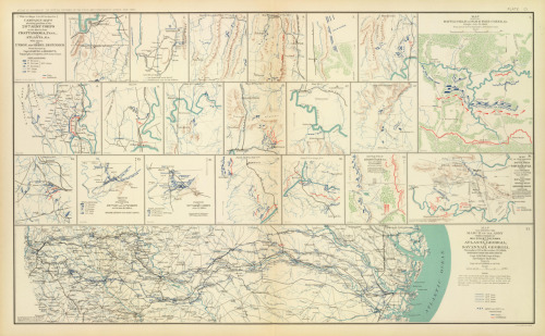 atlanta campaign maps by orlando poe and herman ullfers, usa war department 1895