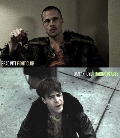 "via @splitsider Here's something I bet you didn't know: ""Tyler Durden's (Brad Pitt) clothes in the movie Fight Club are an imprint in the narrators (Ed Norton) mind from the character Louis Winthorpe III (Dan Aykroyd) in the movie Trading Places."""