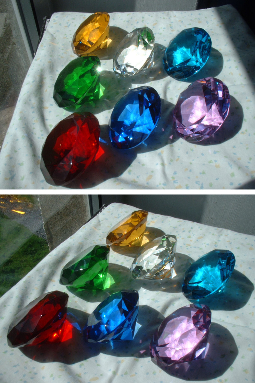 Sonic's chaos emeralds are bright, shiny These chaos emerald replicas look pretty awesome. I was hoping there would be some info on how to make them, but the source says that they mostly came from eBay. Note: Thanks to our reader, Ashley, who has pointed out that these are available at Michael's and other arts&crafts stores! [Via DeviantArt]