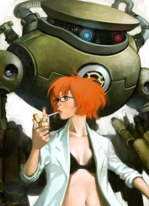 Carrie Byron meets the robot from Chrono Trigger