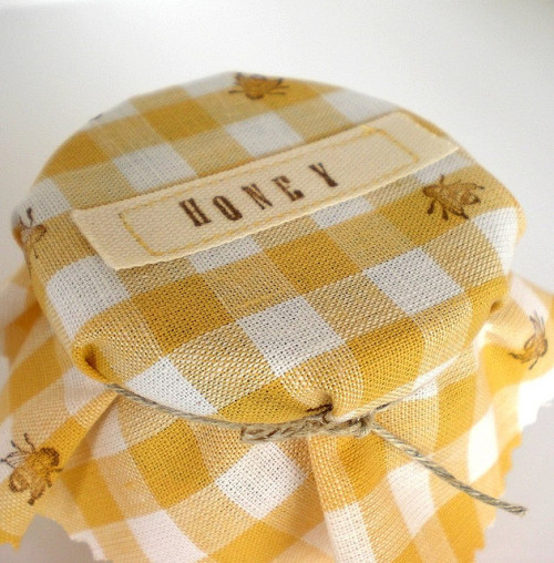 Honey Jar Covers Kit - Yellow Gingham (by CozyMemories)