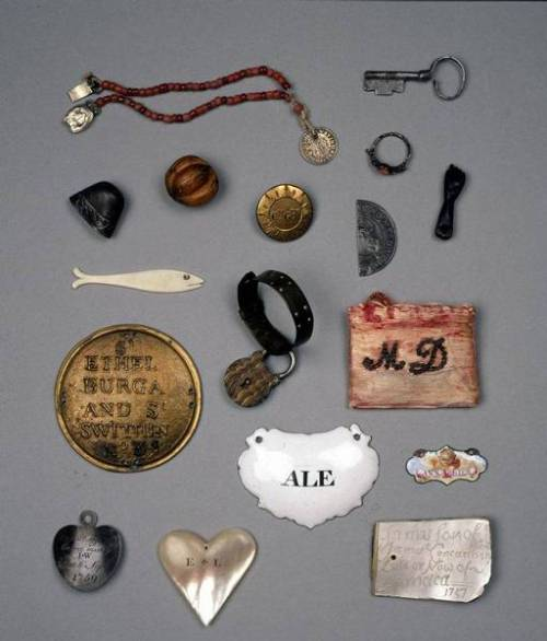 bravestbitch:  The Foundling Museum Token Collection: The Foundling Hospital was a place where unfit mothers, wether it was for stigma (illegitimate child),  mental health, physical health, or economic reasons, could abandon their children. They were taken care of, fed, and would grow up and were provided with jobs. Before abandoning their babies, mothers would attach a token to their child's clothing, hoping that someday they would become well enough to identify and pick their babies up again, although this rarely happened.