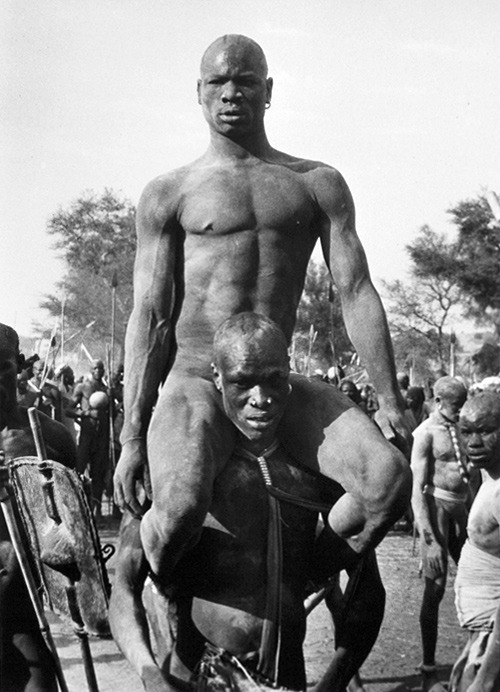 George Rodger, Nuban wrestlers, Kordofan, Sudan, 1949 The recent referendum for independence in Southern Sudan reminded me of this photo. In the 1960s and '70s Leni Riefentahl spent time living in the region, and the Nuba gained international recognition (though not necessarily for the better) after she published her photographs of them.