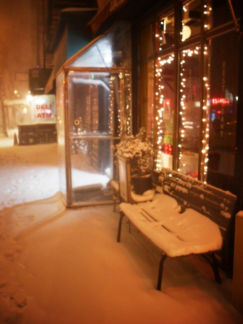 East Village, Manhattan.   New York City is bracing itself for another winter storm currently. The predictions are for anywhere from 8-12 inches (or more) depending on where you get your weather information. This was taken in the midst of the last huge snowstorm we had. It's beautiful when it first falls.   (Clicking through the photo will take you to where it is located on Flickr where you can see larger versions and/or more information.)