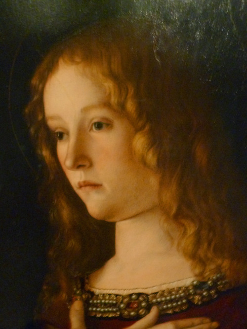 artoficeandfire:  Lancel Lannister uncertaintimes:  Giovanni Bellini - Virgin with child & 2 Saints, detail